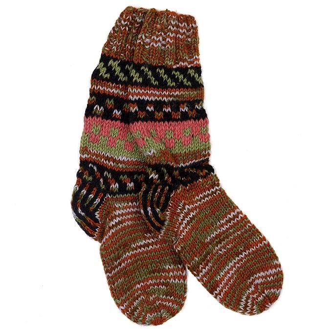 Funky Tejido a mano invierno lana calcetines de Fuji – naranja y caqui