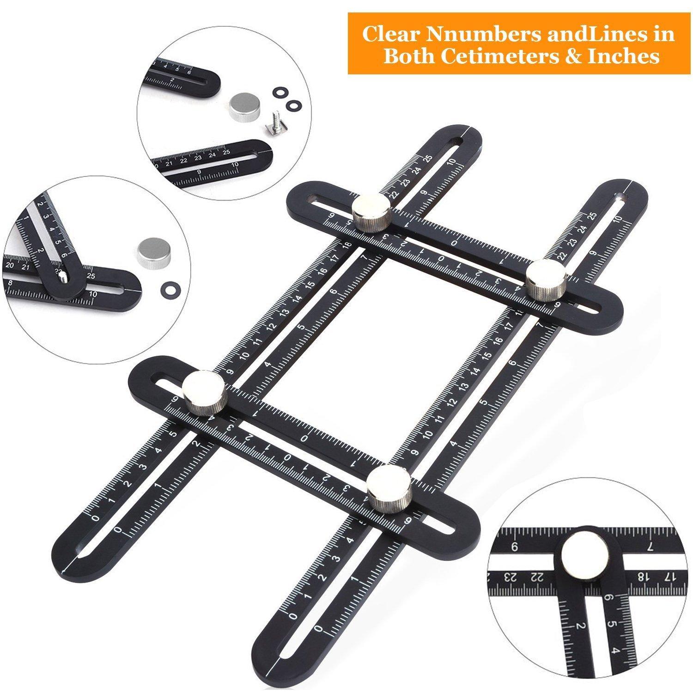 PECHAM Rè gle Multi-Angles Mesure Pliable, Instrument multi fonctionnel fonctionnel d'alliage d'aluminium de rè gle d'Angleizer pour les artisans de bricoleurs les artisans noirs (rè gle mentale)