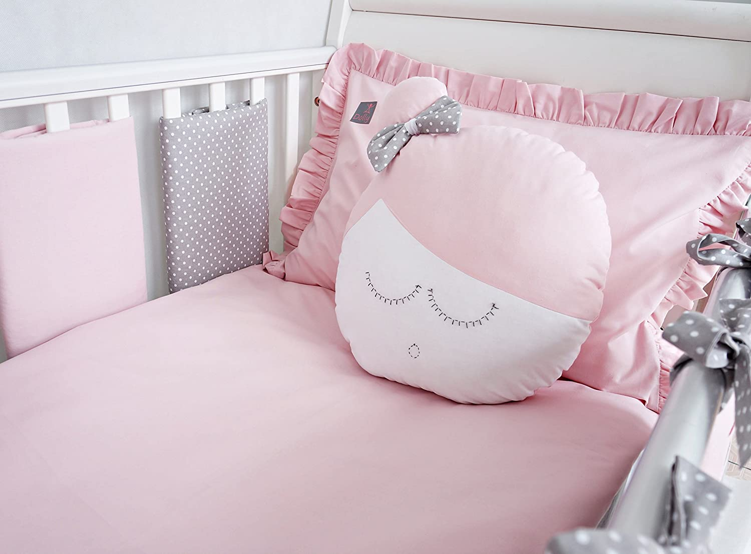 **NEW LUXURY & EXCLUSIVE POWDER PINK & GREY POLKA DOT BABY BEDDING SET - DUVET SET 100x135cm, 8 COT BAR BUMPERS, COT TIDY, DOLLY CUSHION to fit cot or cot bed (please see dimensions in the description)