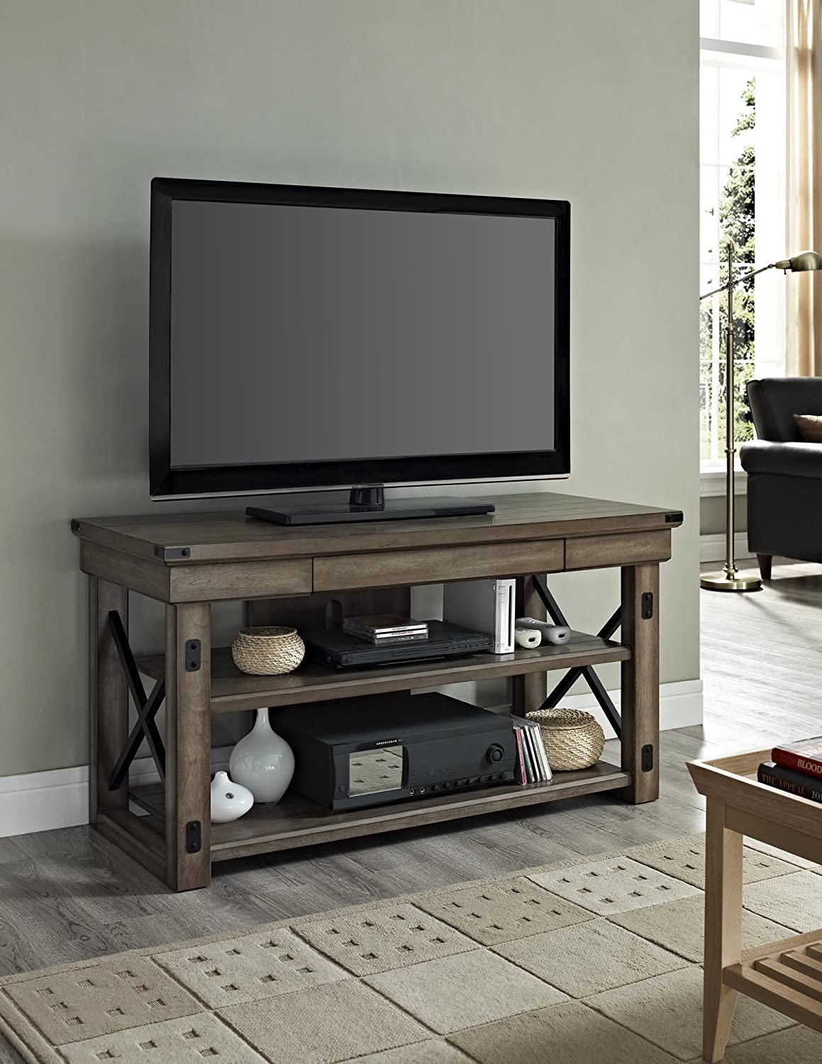 amazon com ameriwood home wildwood wood veneer tv stand for tvs