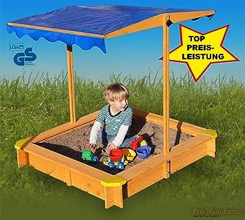 Sandkasten Mit Verstellbarem Dach Inkl Bodenplane Sitzecken Lasiert UV Schutz 80