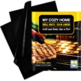 My Cozy Home Non Stick, Reusable BBQ Mats Gas, Charcoal, Electric, Barbecue Grills and Ovens - Set of 3