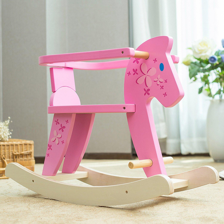 Schaukel Baby//Schaukel Pferd//Schaukel Rosa//Schaukeltier Rosa//Schaukeltier Pink//Schaukelpferd Pink//Schaukel Kinder labebe Baby Schaukelpferd Holz Schaukelpferd Rosa mit Zaun f/ür Baby 1-3 Jahre Alt