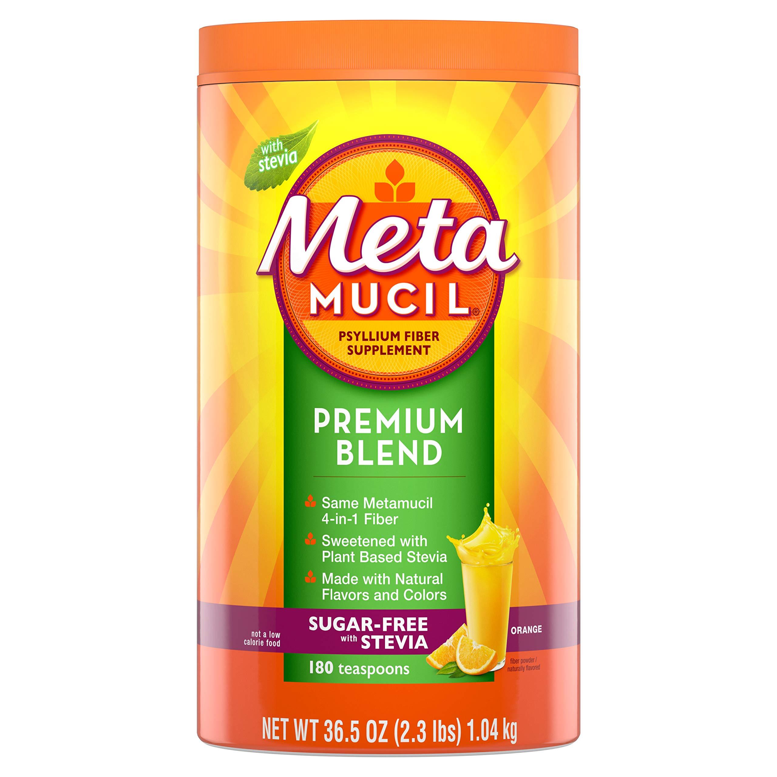 Metamucil Premium Blend, Psyllium Fiber Powder Supplement, Sugar-Free with Stevia, Natural Orange Flavor, 180 Servings, 36.5 Ounce