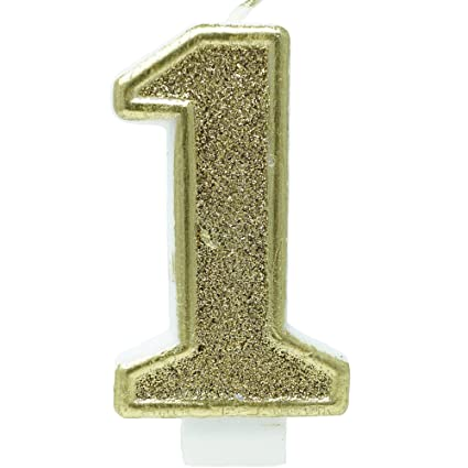 Amazon Birthday Party Sparkling Chic Glitter Number Cake Candle 1 Champagne Gold Kitchen Dining