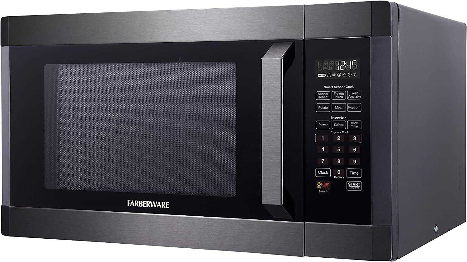 Black Stainless Steel 1300-Watt Microwave Oven with Smart Sensor Cooking Inverter Technology ECO Mode and LED Lighting Ft Farberware Black FMO16AHTBSA 1.6 Cu