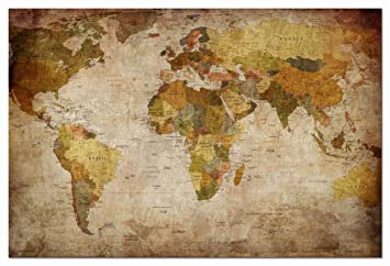 Amazon wieco art world map large modern stretched and framed wieco art world map large modern stretched and framed giclee canvas prints artwork brown abstract gumiabroncs Gallery
