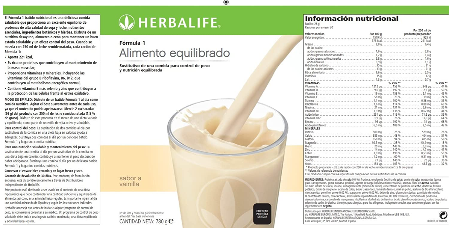 HERBALIFE Formula 1 Vanilla 780 Gr Amazoncouk Sports Outdoors