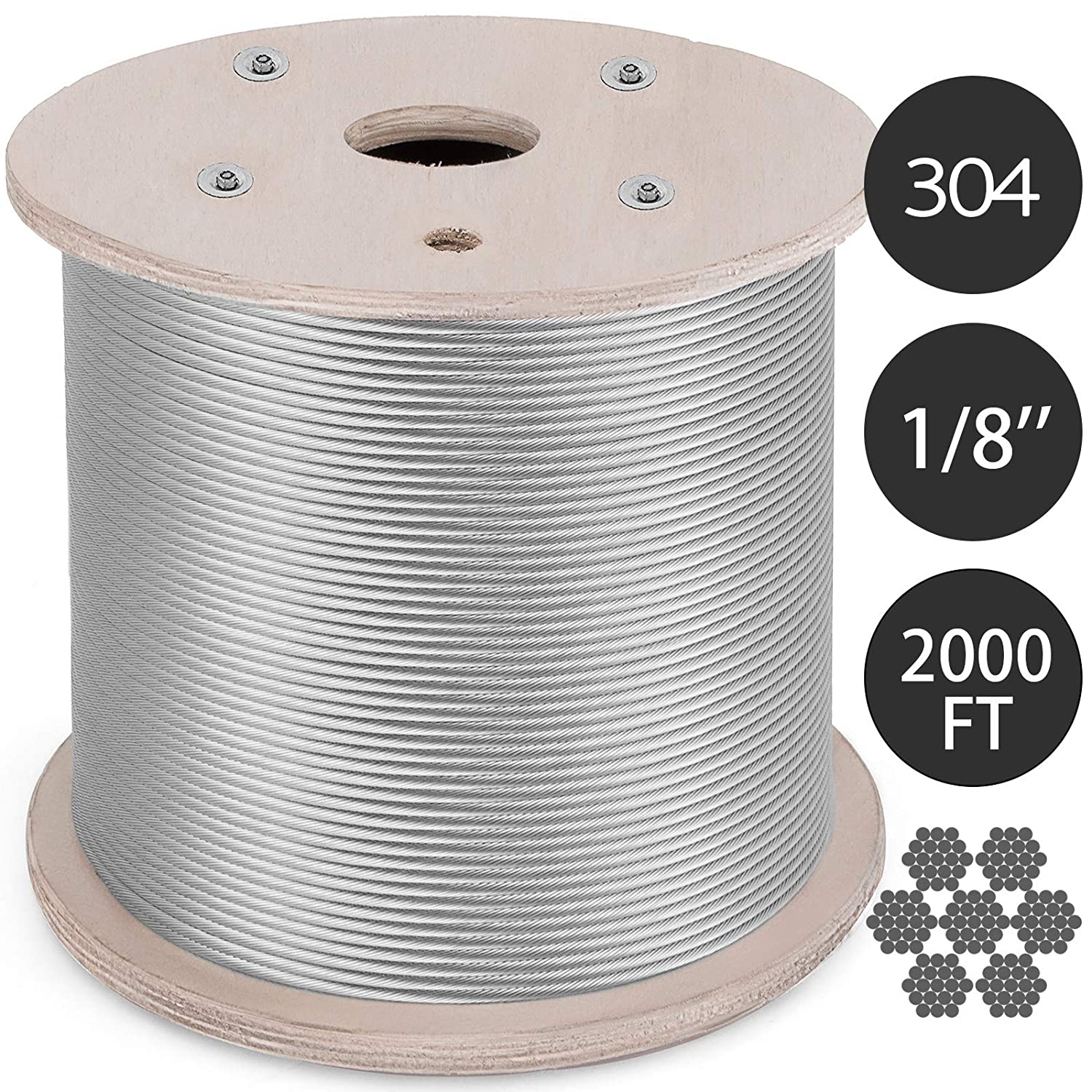 3//16 Inch-100Feet Mophorn 304 Stainless Steel Cable 3//16 Inch 7 X 19 Steel Wire Rope 100Feet Steel Cable for Railing Decking DIY Balustrade
