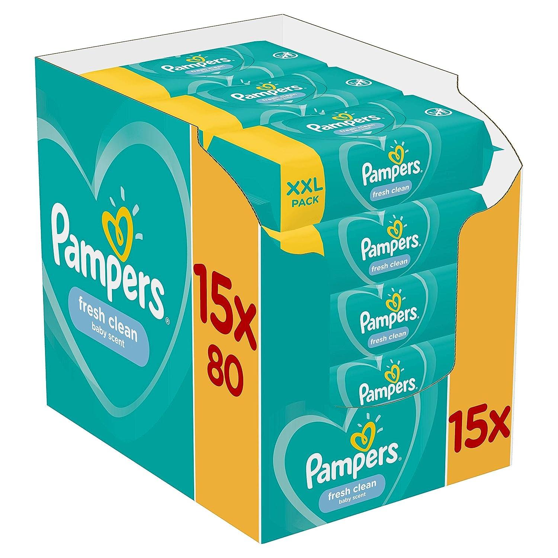 Pampers Fresh Clean Feuchtt/ücher 1200 Feuchtt/ücher 15 Packungen
