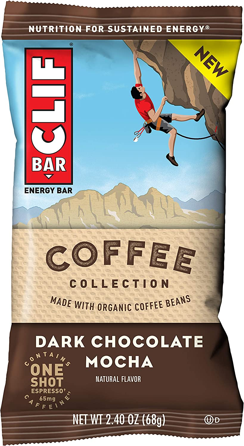 CLIF BARS with 1 Shot of Espresso - Energy Bars - Dark Chocolate Mocha - Coffee Collection - 65 mgs of Caffeine Per Bar- Made with Organic Oats - Plant Based Food (2.4 Oz Breakfast Bars, 12 Count)