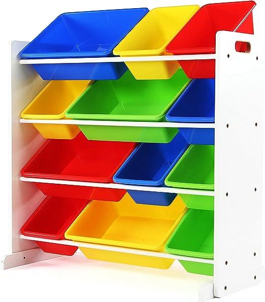 Pastel Collection Tot Tutors Kids Toy Storage Organizer with 12 Plastic Bins Renewed White//Pastel