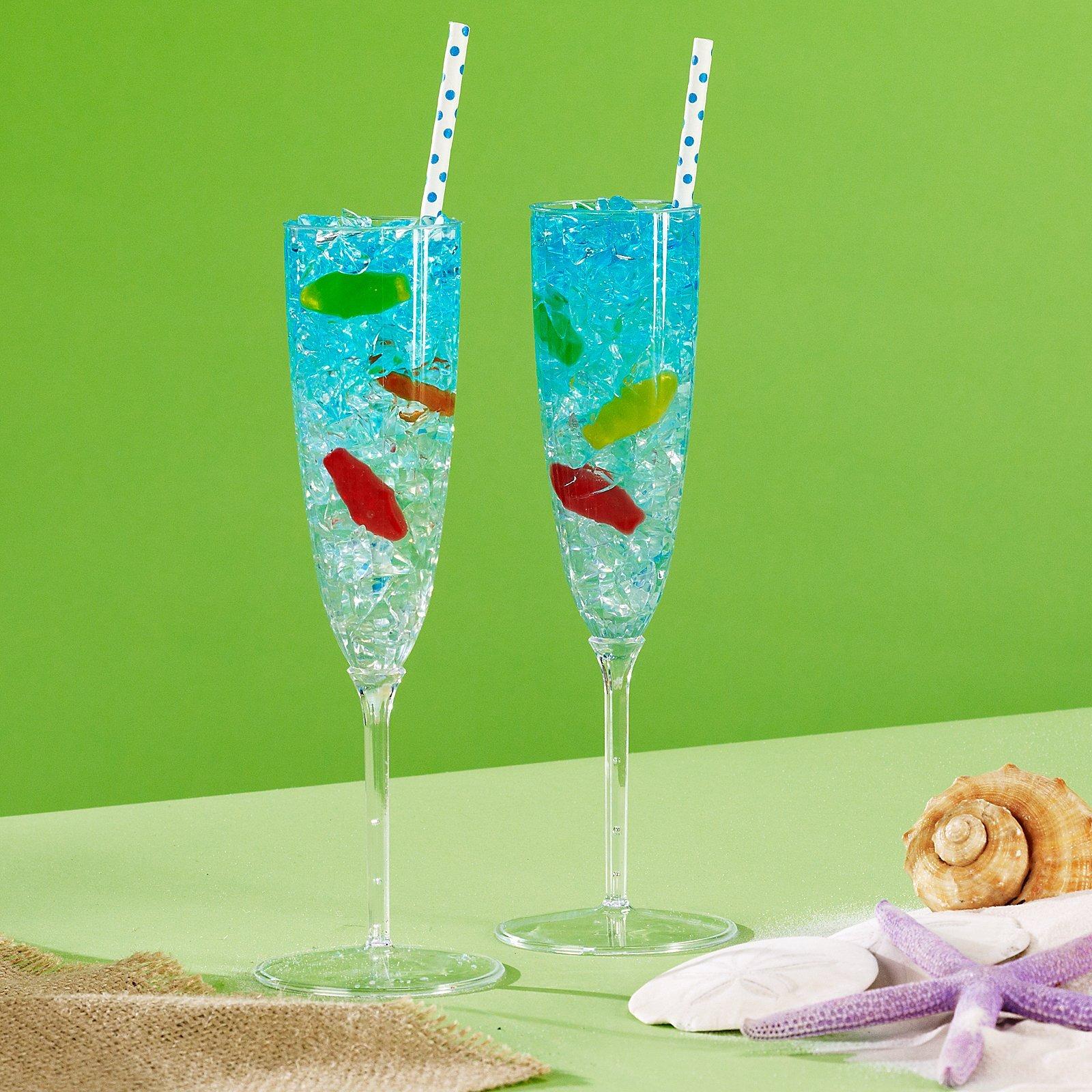 8 Pack Amscan Clear Premium Plastic Champagne Flutes