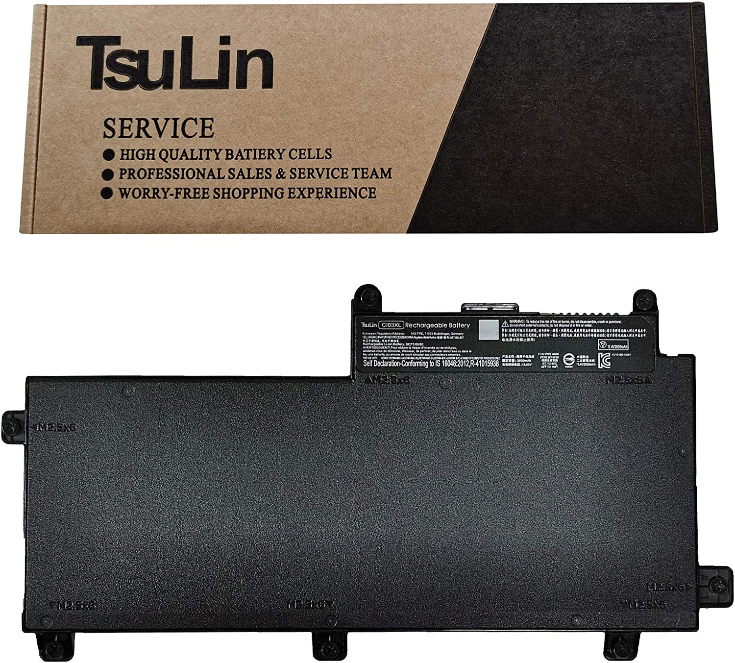 TsuLin CI03XL Laptop Battery Compatible with HP ProBook 640/645/ 650/655 G2 Series Notebook HSTNN-LB6T CI03 CIO3 CIO3XL HSTNN-UB6Q 801554-001 11.4V 48Wh 3930mAh