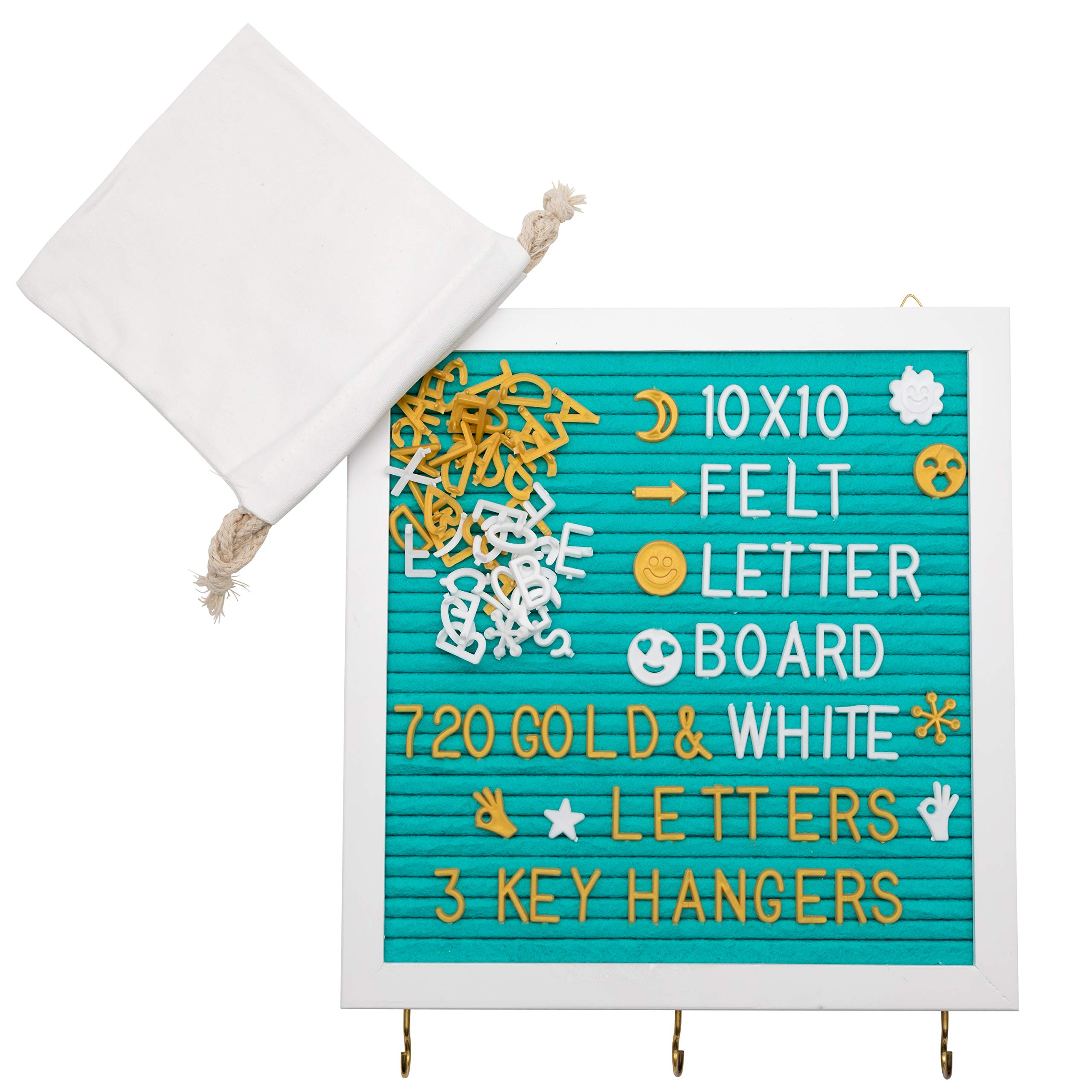 Felt Letter Board 10X10'' With 3 Key Hangers & 720 Changeable Letters | Sleek Wooden Frame, Unique Teal Color, Wall Mount Hook | For Messages, Notes, Quotes, Office, Menus, Word Games & More by RODNAS (Image #6)