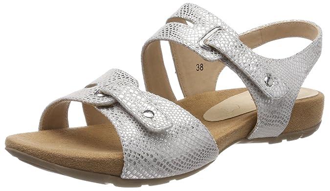 28107, Sandalias de Talón Abierto para Mujer, Plateado (Silver Reptile 991), 39 EU Caprice