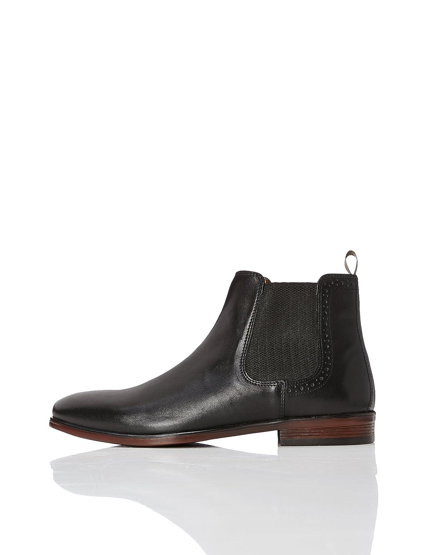 FIND Chelsea Boots Herren aus Glattleder mit Blockabsatz Schwarz (Black)