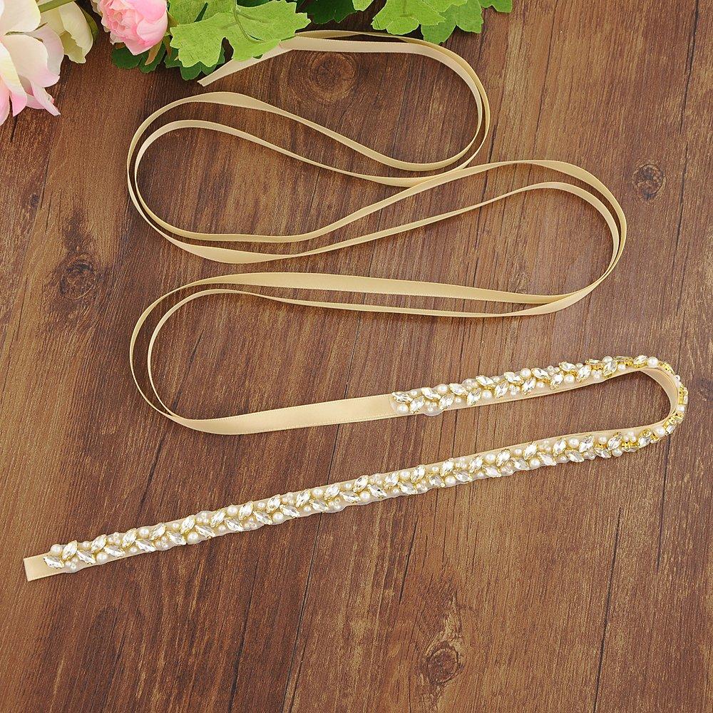 ULAPAN Bridal Belt Sash With Pearls,Wedding Belt With Crystals,Shin Elegant Wedding Sash Rhinestones,S383