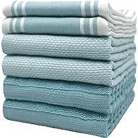 "Premium Kitchen Towels (20""x 28"", 6 Pack) – Large Cotton Kitchen Hand Towels – Vintage Striped Flat & Terry Towel…"