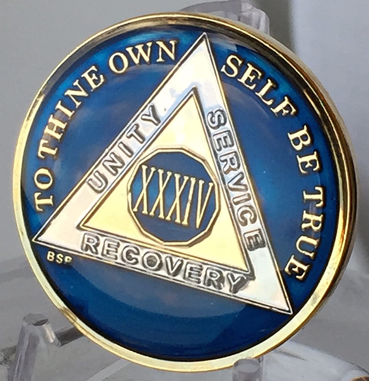 11 Year Midnight Blue AA Medallion Alcoholics Anonymous Chip Gold Tri Plate