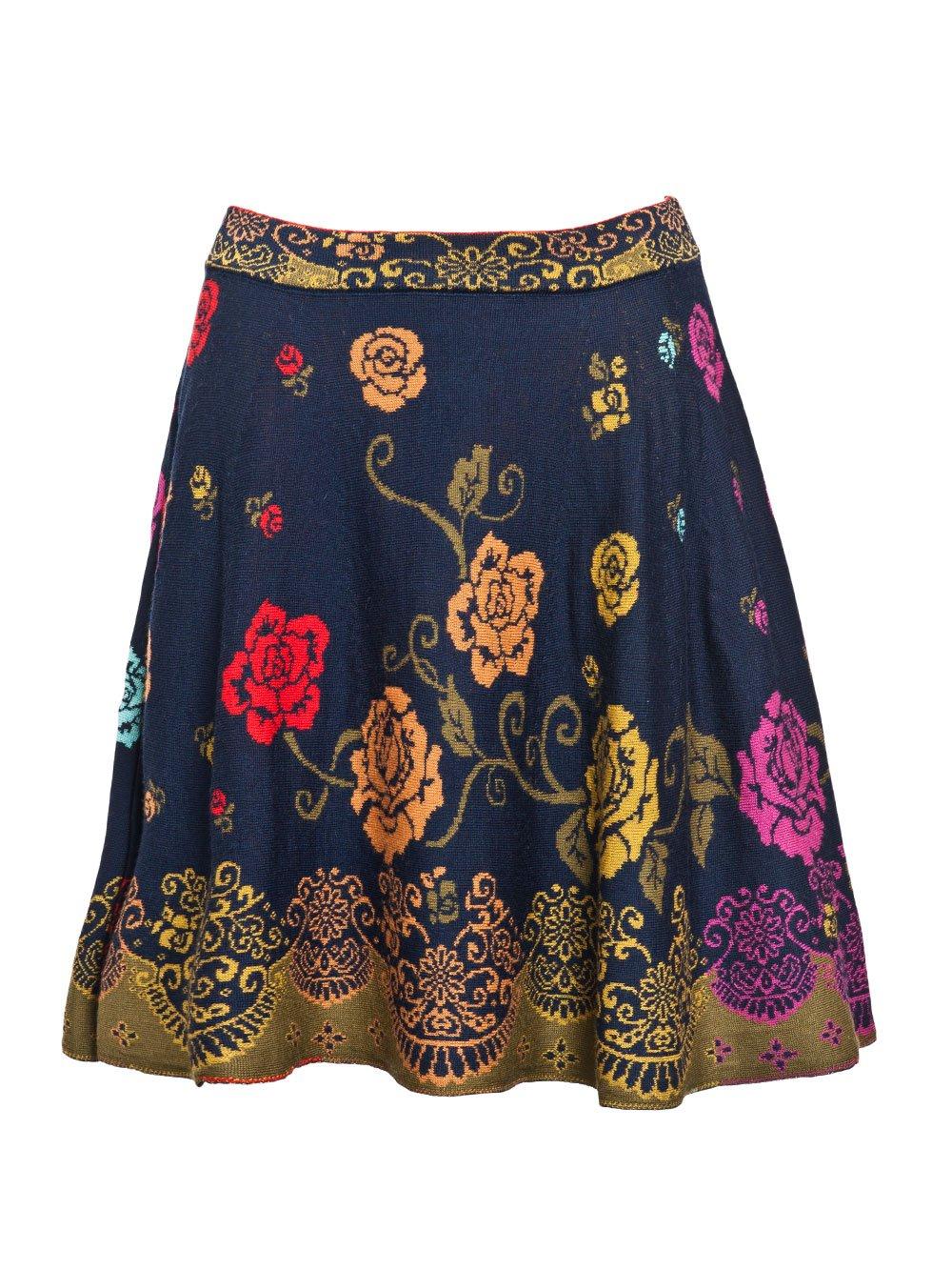IVKO Skirt, Foral Pattern Marine EUR 42 - US 12