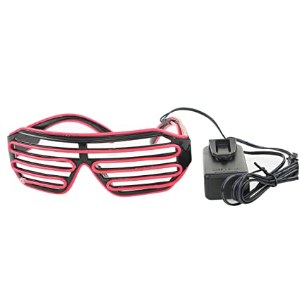 baa7b83c48 iZAN Light up Flashing El Wire Neon Glasses Glow DJ Rave Lighting  Eyeglasses Party Festival Shade