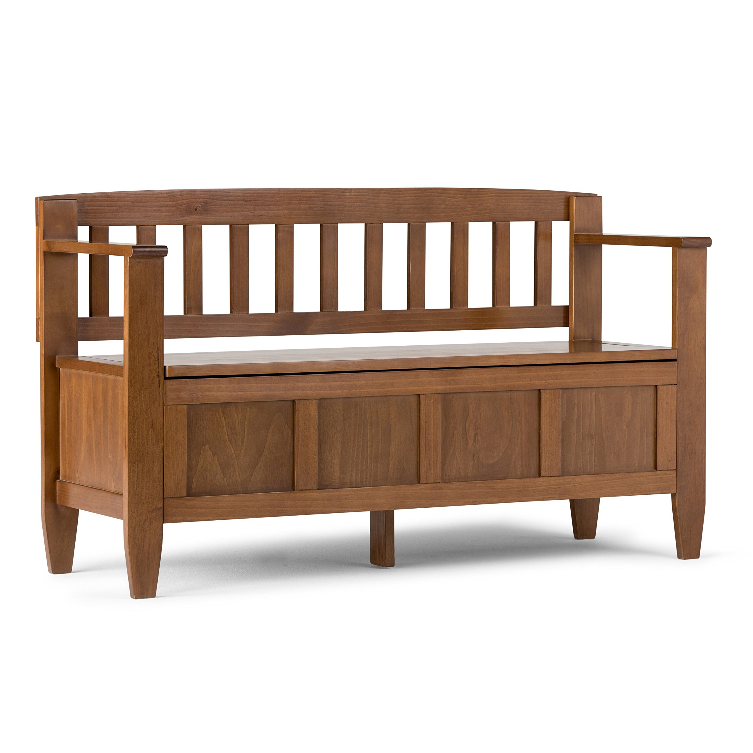 Simpli Home Brooklyn Solid Wood Entryway Storage Bench, Medium Saddle Brown