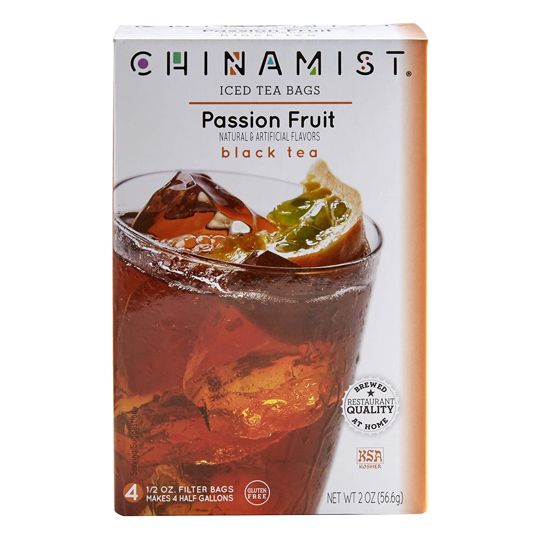 China Mist - Passion Fruit Black Iced Tea Bags - Each Tea Bag Yields 1/2 Gallon
