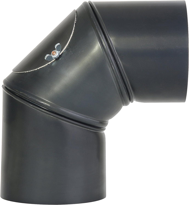 Kamino - Flam – Codo con puerta para chimenea o estufas de leña (Ø 120 mm/ángulo 90°C) Codo vitrificado, Codo de escape – resistente a altas temperaturas – gris