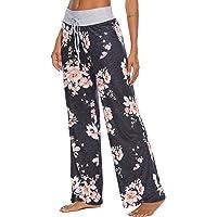 LOCUBE Women's Pajama Pants Comfy Floral Print Wide Leg Palazzo Lounge Pants Drawstring Elastic Waist Long Pj Bottoms