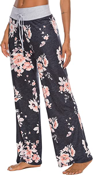 Auxo Women Floral Print Shorts Pants High Waist Drawstring Palazzo Comfy Casual Pajama Lounge Wide Leg Trousers