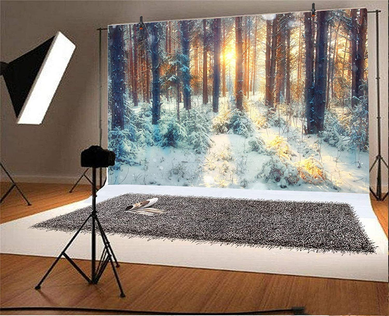 GoEoo 10x8ft Winter Forest Background Nature Snowy Landscape Photography Backdrop Snow Covered Trees Mountain Woods Snowfield Sunlight Christmas Holiday Travel New Year Photo Studio Vinyl Props