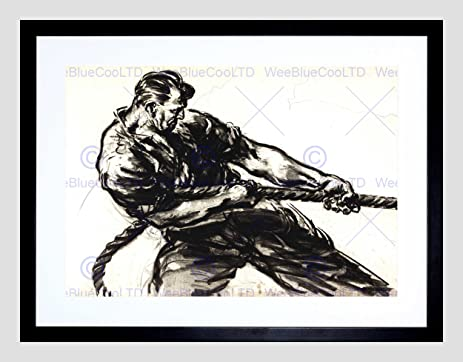 Drawing docks uk wwii black white charcoal rope man pull framed print b12x6717