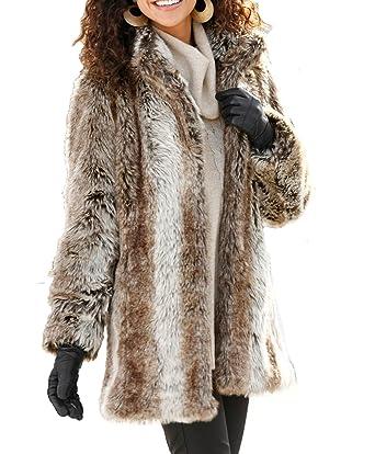 957d8c21d80 Ladies Luxury Faux Fur Jacket in Plus Size 22 402910 48  Amazon.co.uk   Clothing