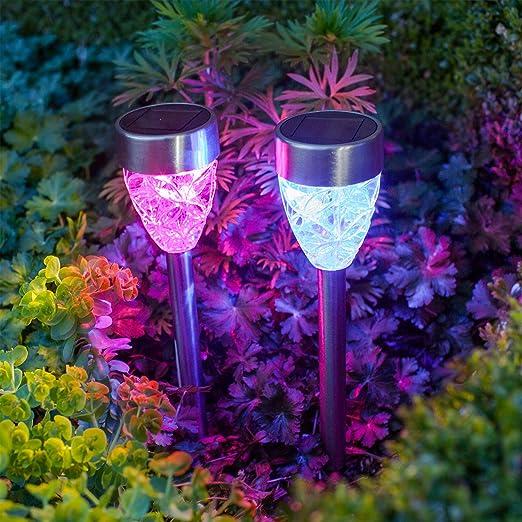 Conjunto de 2 lámparas solares de luz LED cambia color para jardín en forma de prisma de Lights4fun: Amazon.es: Iluminación