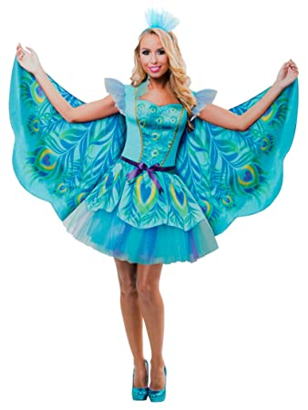 d2751c9cd36020 Brandsseller Damen Kostüm Verkleidung für Karneval Fasching Halloween  Parties - Pfau, S/M