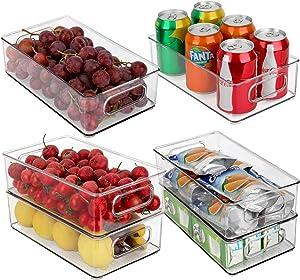 JuneHeart Refrigerator Organizer Bins, Set of 6 Fridge Storage Bins with Handles for Freezer, Kitchen, Countertop and Cabinets Pantry Food Storage-Clear Plastic Organizer Bins