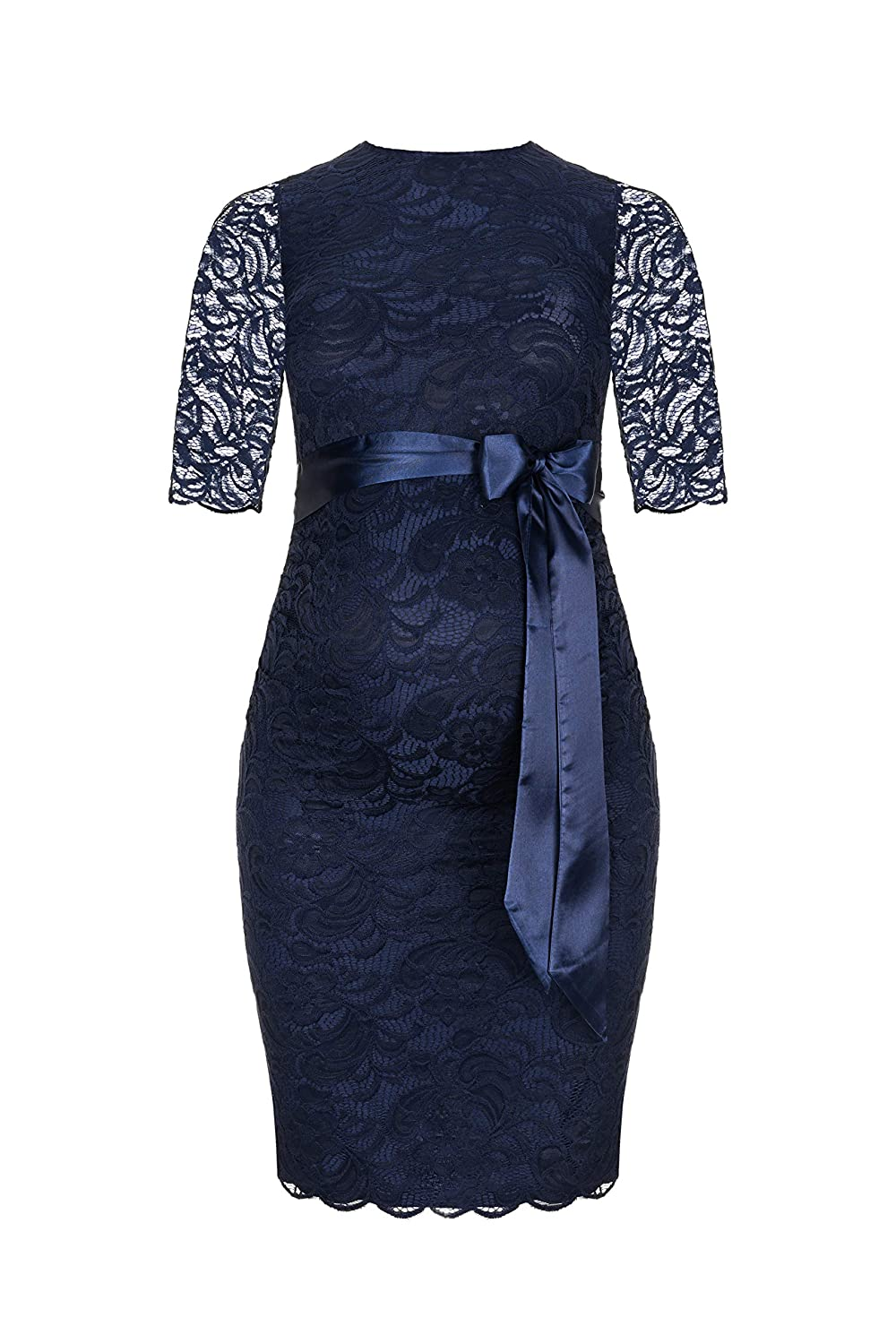 Herzmutter Maternity lace Dress, Elegant Knee-Length Pregnancy Dress for Festive Occasions, with Cotton-Blend lace, Cream-White Dark Blue (6200)
