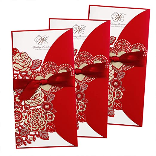 Feiyi 25 Pieces 4 4 X 8 4 Laser Cut Hollow Rose With Ribbon Wedding Invitations Cards For Wedding Baby Shower Birthday Invite Red