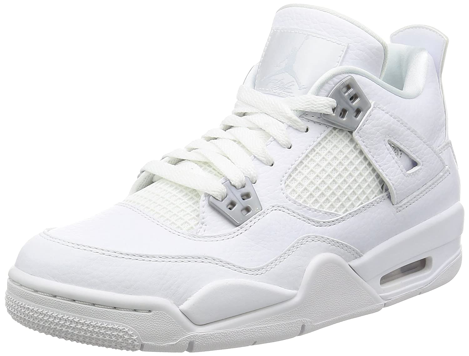 White, metalic silver Nike Jordan Kids Air Jordan 4 Retro Bg Basketball shoes