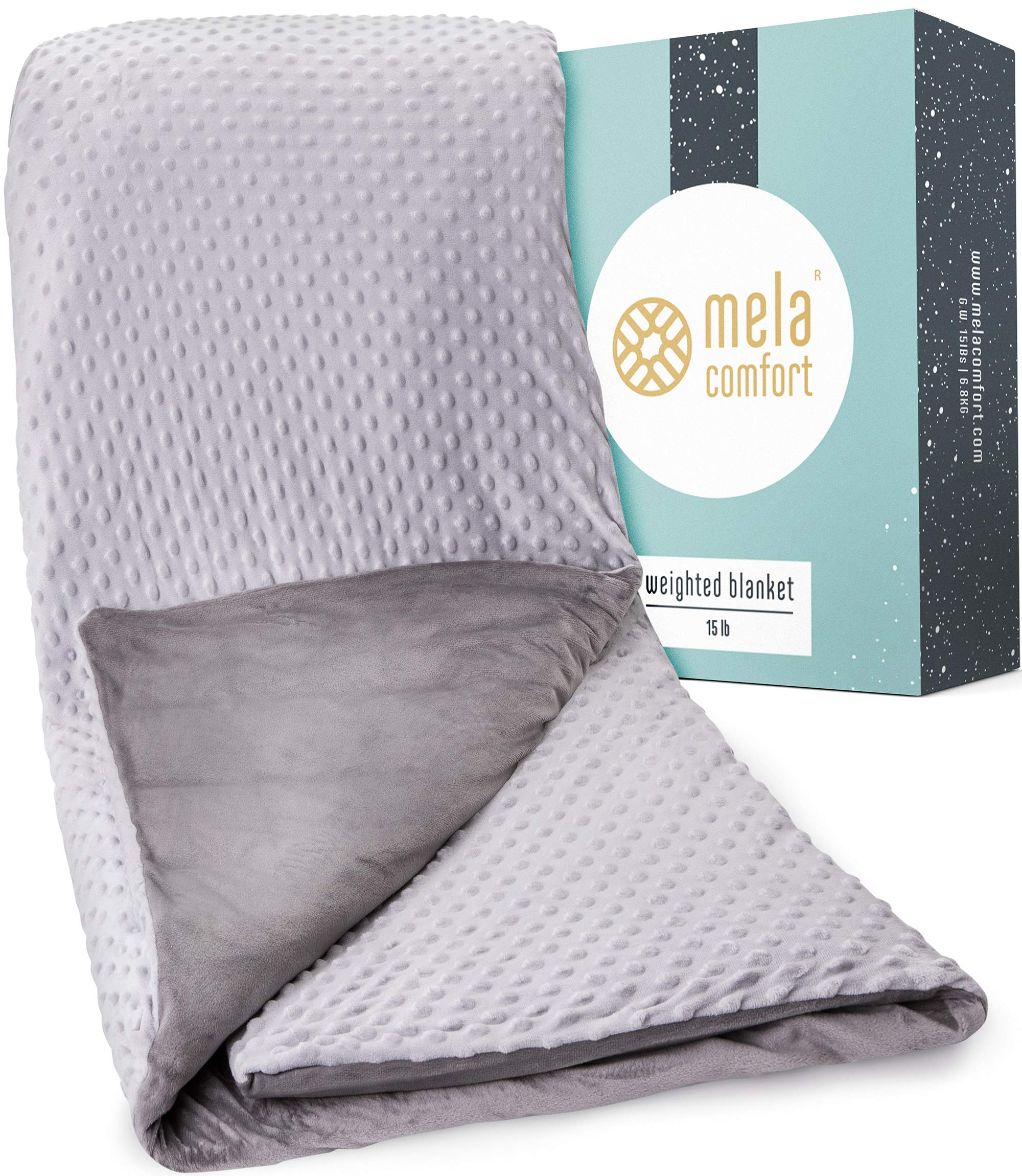 Multi-Relief Weighted Blanket - 100 Night Risk-Free Trial - Supports Healthy Sleep & Can Help Reduce Stress - Includes Premium Super Soft & Washable Cover - 15LBs - Adult Queen Size - Heavy Blanket by Mela Comfort
