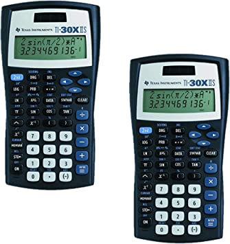 Texas Instruments TI-30X IIS 2-Line Scientific Calculator, Black with Blue Accents 2 Pack