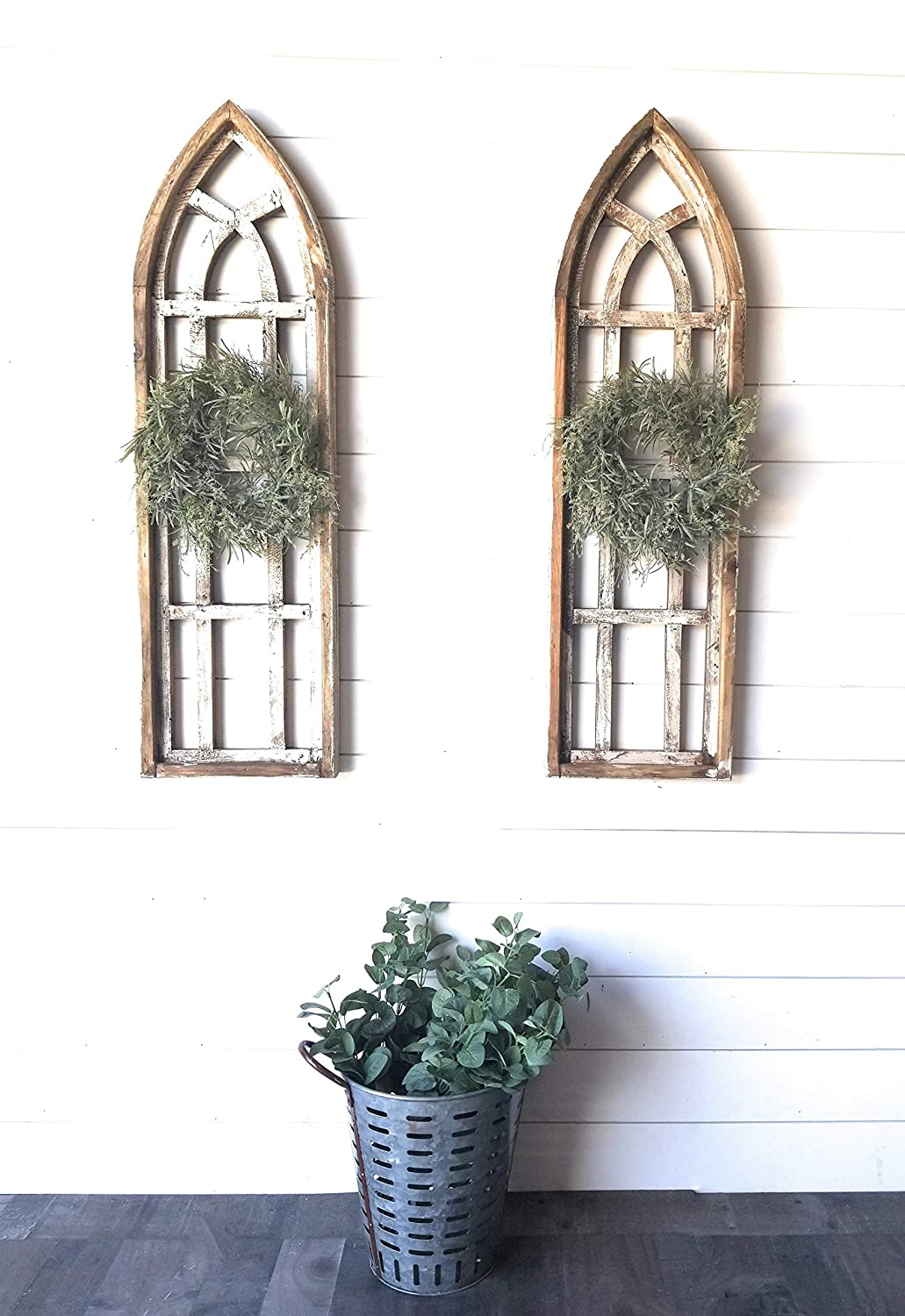 The White Waters 43 Farmhouse Wooden Wall Window Arches Set of 2 Rustic Cathedral Wood Window