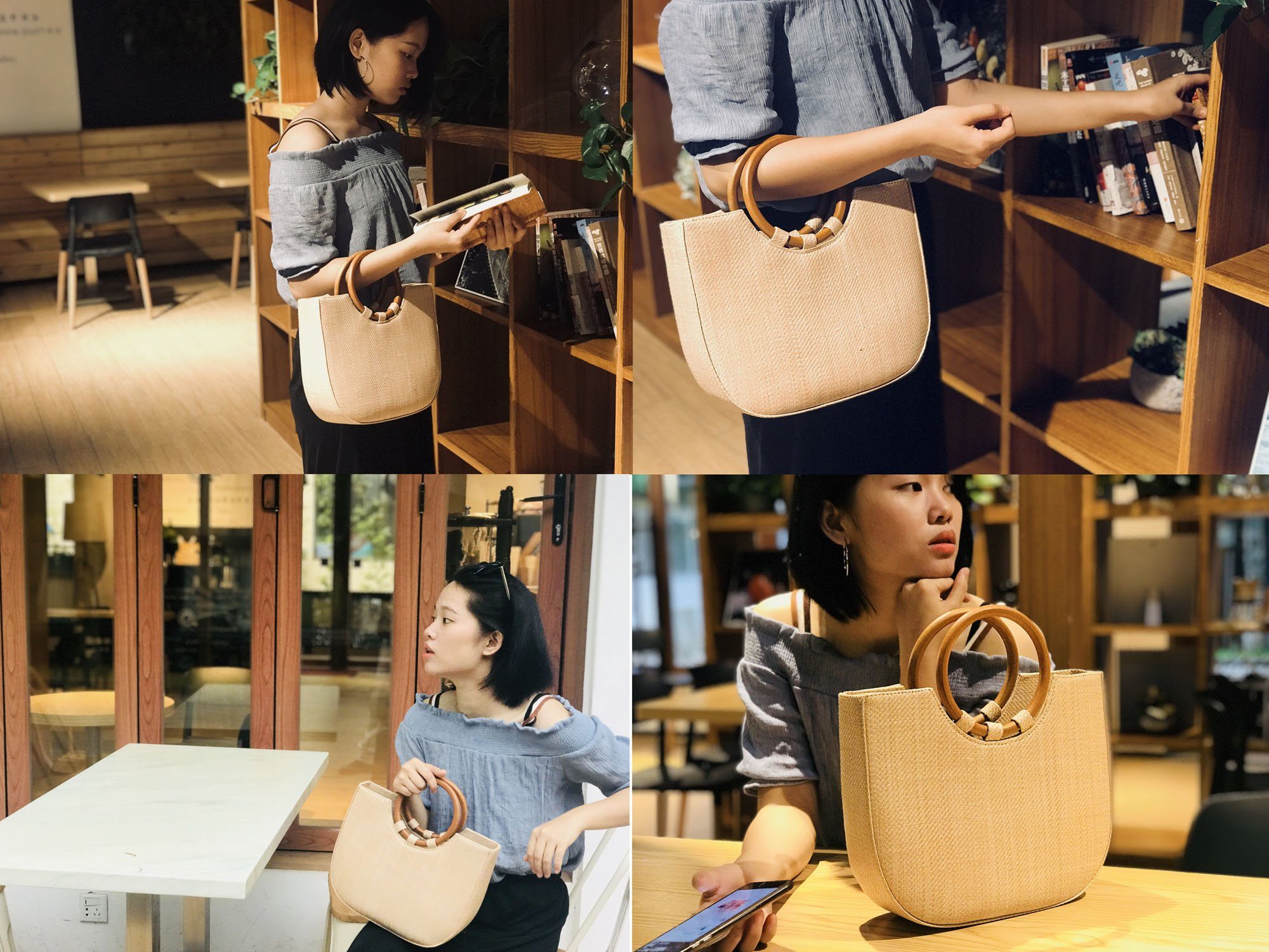 Youndcc Women Woven Straw Bag Rattan Bag Tote Bag Shoulder Bag Crossbody Bag Handbag Beach Bag, Handwoven/Crochet/Round Handle by Youndcc (Image #7)