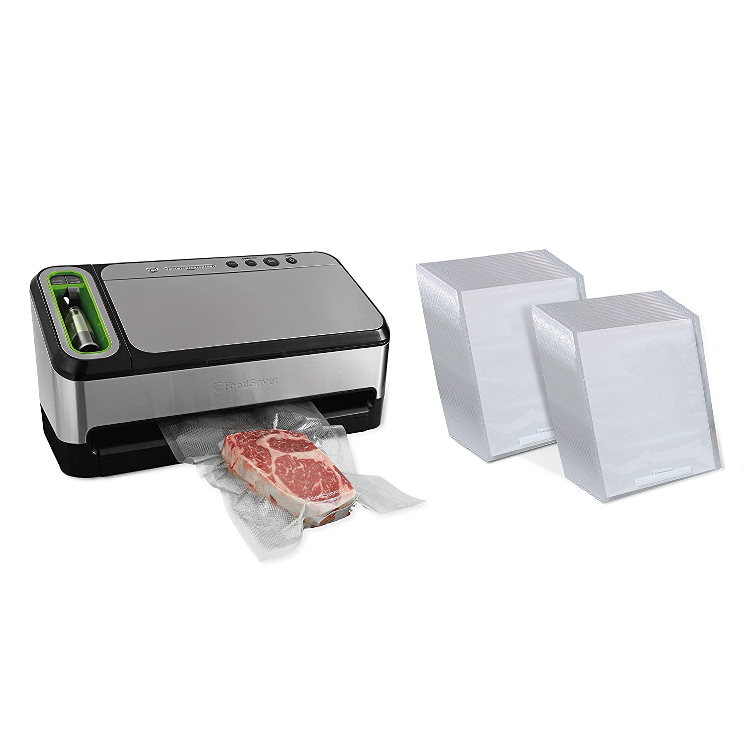 FoodSaver 4440 Vacuum Sealer 2-in-1 Automatic System with Bonus Built-in Retractable Handheld Sealer and Starter Kit & FoodSaver 1-Quart Pre-Cut Vacuum Seal Bags, 44 Count