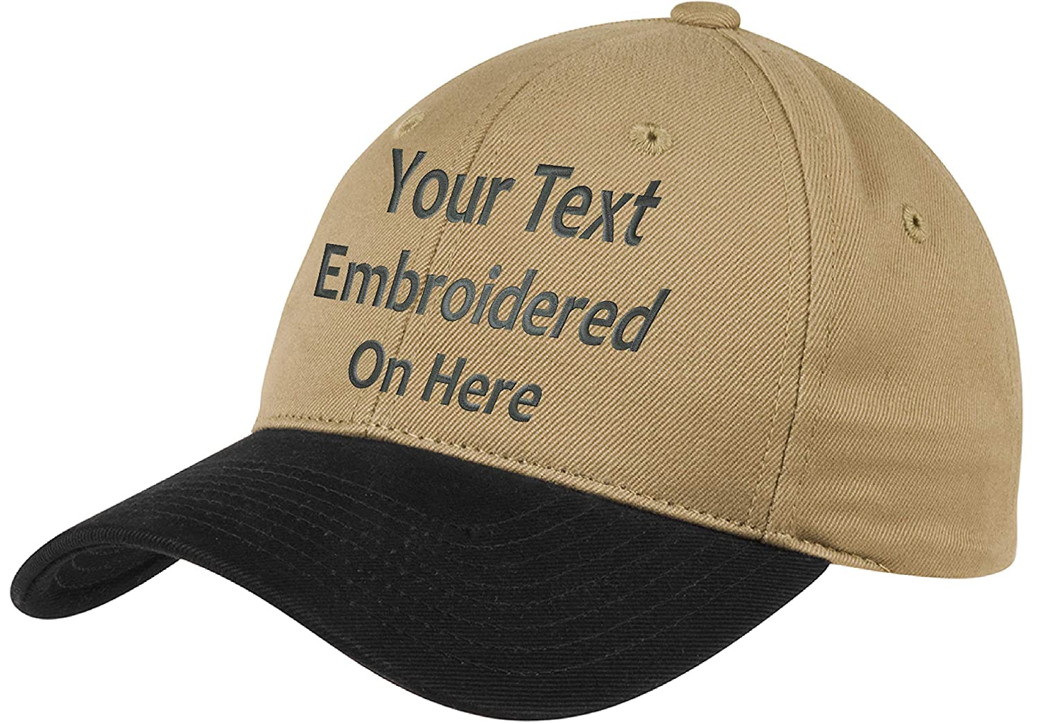 c765411e Custom Hat, Embroidered. Your Own Text. Adjustable Back. Curved Bill Many  Colors (2 Tone Brushed Twill Khaki Hat/Black Bill) at Amazon Men's Clothing  store: