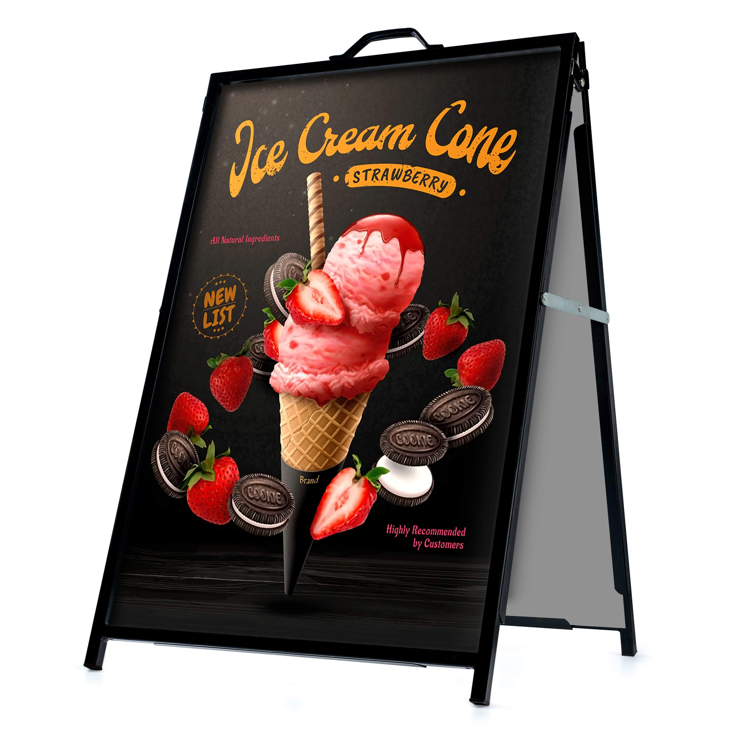 A-Frame Sidewalk Sign Board Curb Sign 24x36 inch Slide in Double Sided Display Foldable and Portable Comes with Carry Handle Weather Resistant Does Not Fall with Winds Color Black by flybold