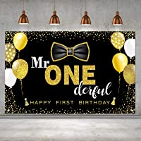 Boys 1st Birthday Mr. Onederful Party Decoration Photography Backdrop Boy Toddler Little Man First Birthday Cake Table…