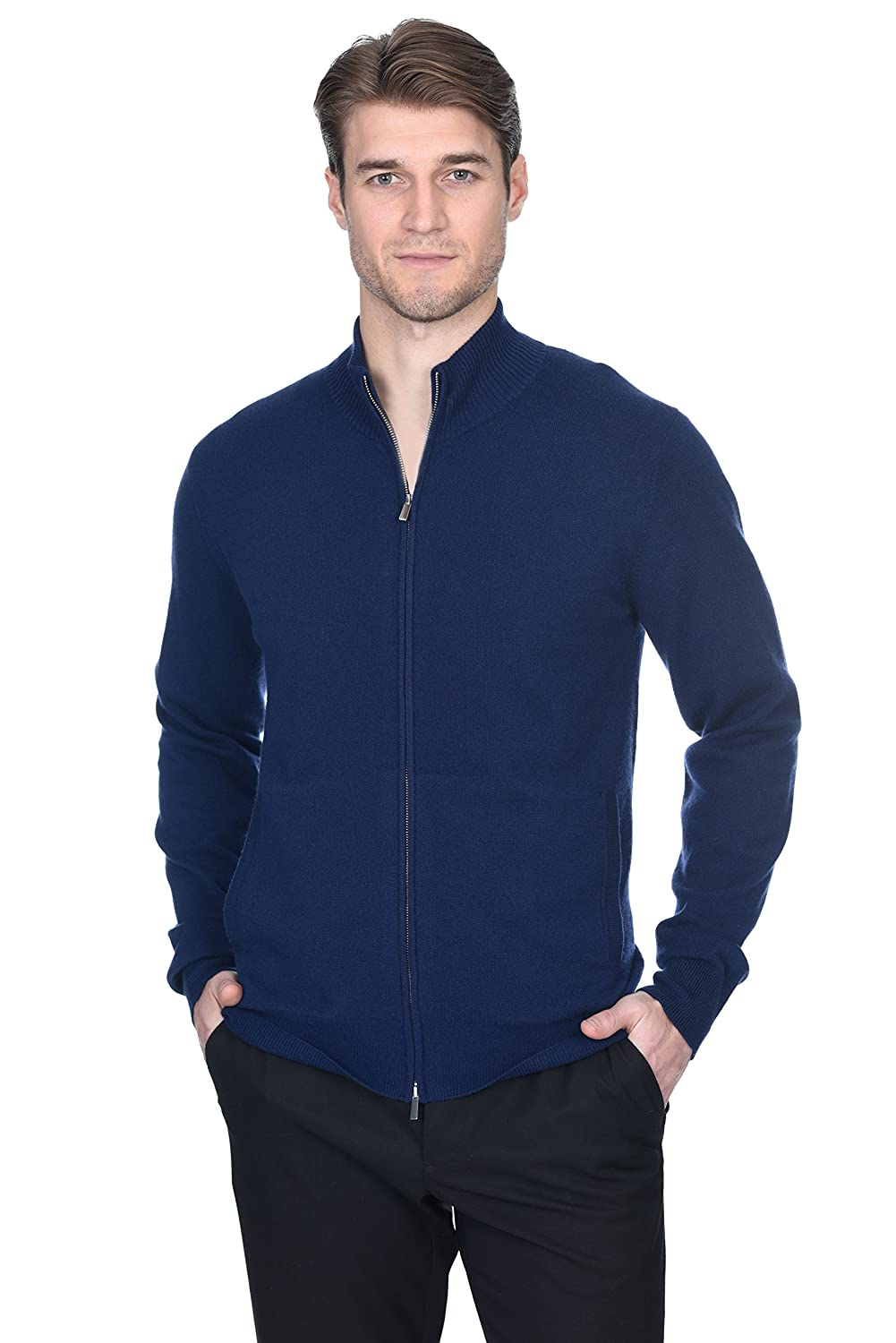 State Fusio Men's Cashmere Wool Full-Zip Mock Neck Sweater Premium Quality