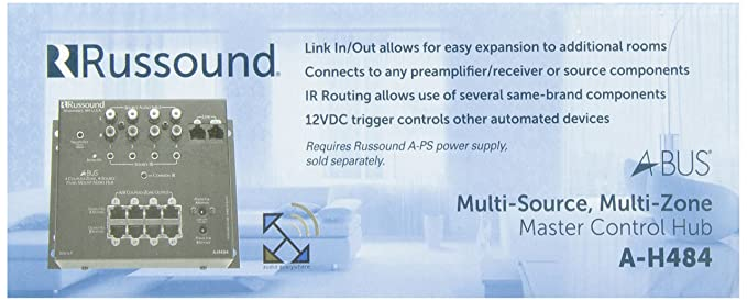amazon com: russound a-h484 a-bus 4 zone 8 room 4 source audio distribution  hub: home audio & theater